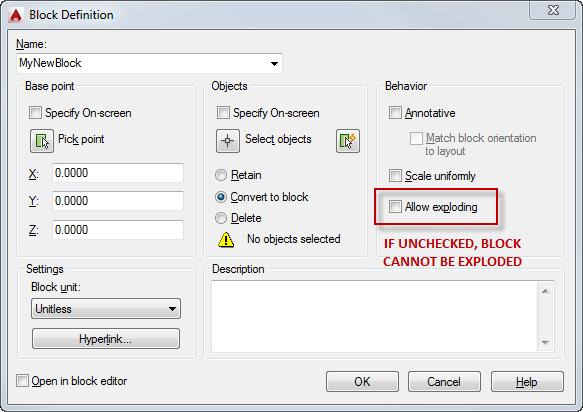 Block Dialog AutoCAD