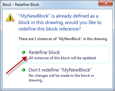 AutoCAD redefine block confirmation