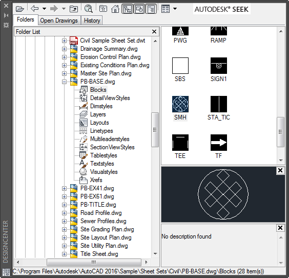 Typical DesignCenter view showing blocks inside of an existing DWG file.