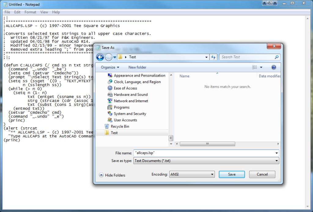 lisp code in Notepad
