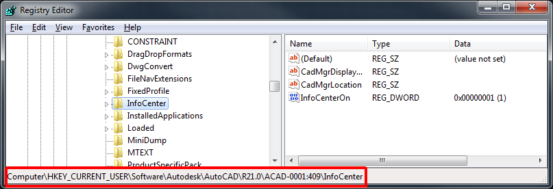 Regedit location to remove InfoCenter