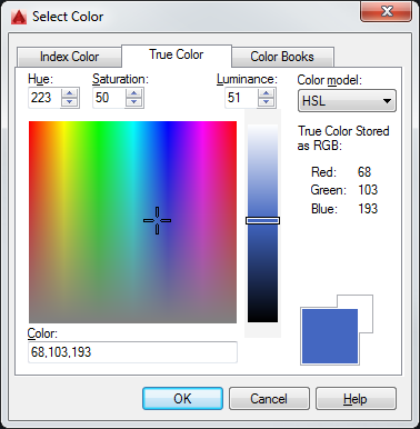 AutoCAD TrueColor Selection