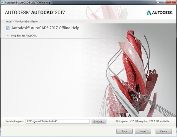 AutoCAD 2017 Help Install