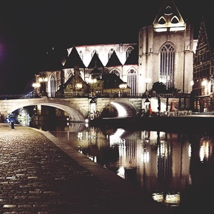 A night scene of the beautiful architecture in Ghent.