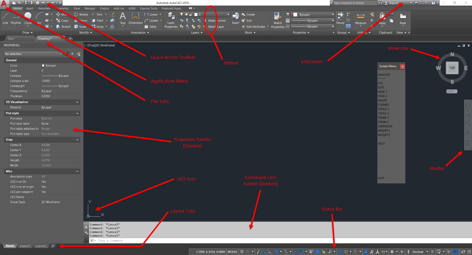 Autocad User Interface Elements