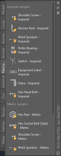 Sample tool palette