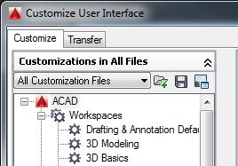 Partial menus in AutoCAD